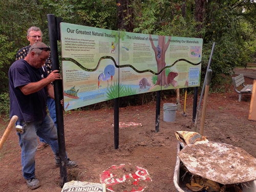 Installation of Bayou Preservation Association panels