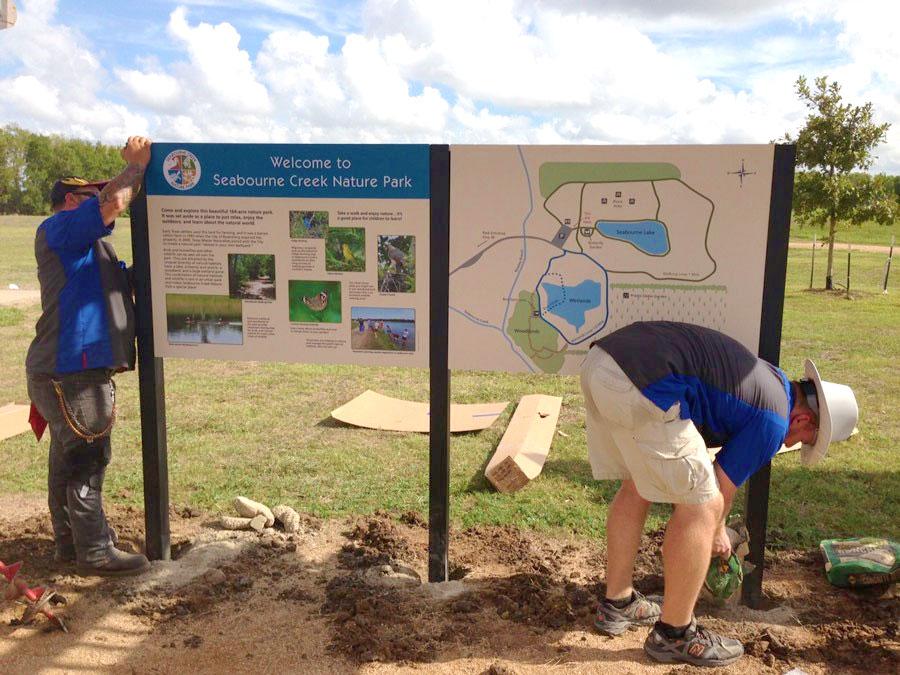 Installing Seabourne Nature Park Interpretive Signage